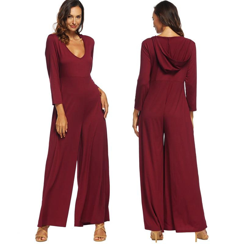 6ee6f1221ac 2019 Women Jumpsuit Romper Long Sleeve V Neck Casual Playsuit Pocket ...