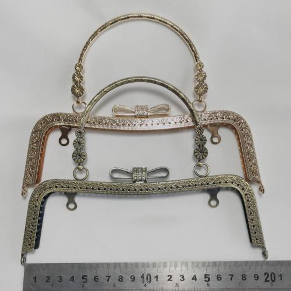 517a27847c 2019 Vintage Bronze Golden Color Knurling Metal Purse Frame Diamond Bowknot  Buckle Bag Making Clasp From Creeative