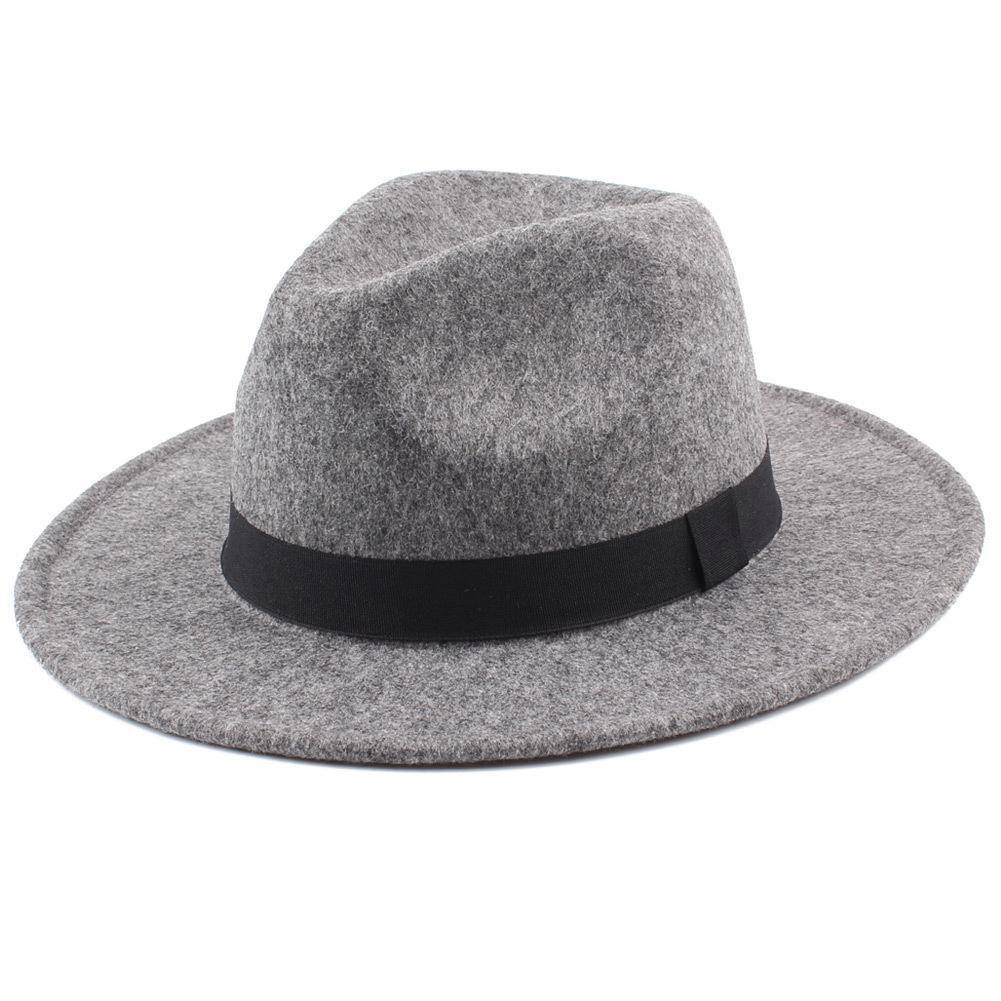 2018 Women S Wide Brim Fedora Hat Men Unisex Felt Trilby Hats Wide Brim  Adjustable Fedora Jazz Hat Caps Woolen Felt Vintage Hats D19011103 Flat  Bill Hats ... 9a17844e1102