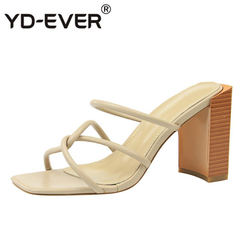 2019 Sommer Designer Slides Damenmode Elegante Block High Mules Slipper Luxus Weibliche Schuhe Heels Peep Holz Sandalen Toe CQrxBEdeWo