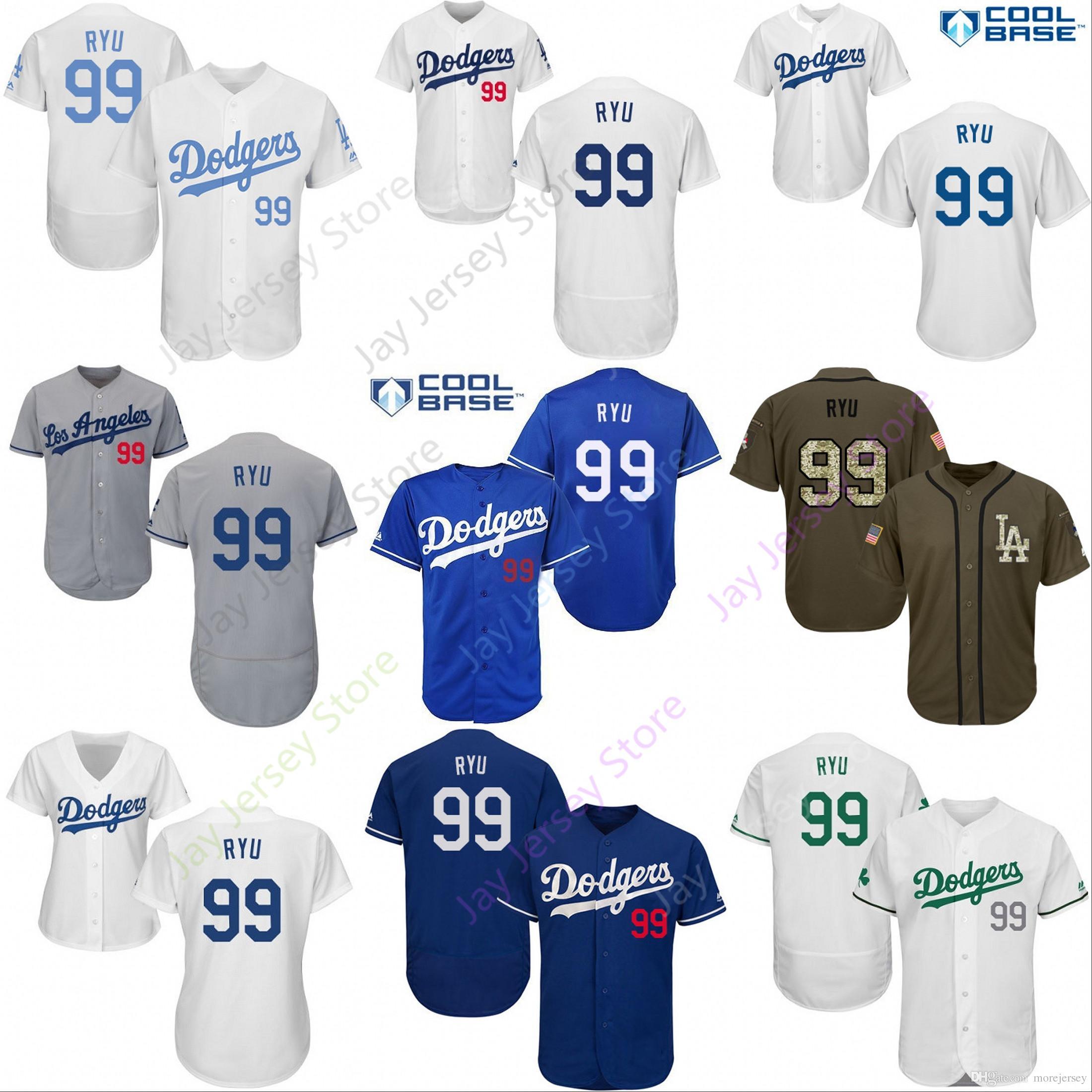 san francisco 51475 c0c8e 2019 Los Angeles 99 Hyun-Jin Ryu Jersey Dodgers Jerseys Cool Base Flexbase  Home Away White Black Red Grey Pullover Button Men Women Youth