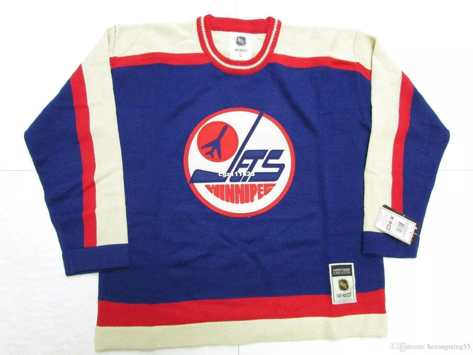 quality design f8c73 f1f35 Cheap custom WINNIPEG JETS VINTAGE BLUE CCM SWEATER MENS Vintage jerseys