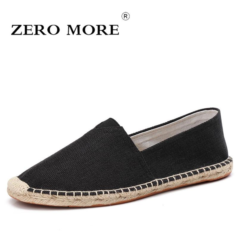 Zero more Wrap Mens Shoes Spring Espadrilles Men 2019 Canvas Shoes Men Breathable Men's Loafers Slip On Solid Black White