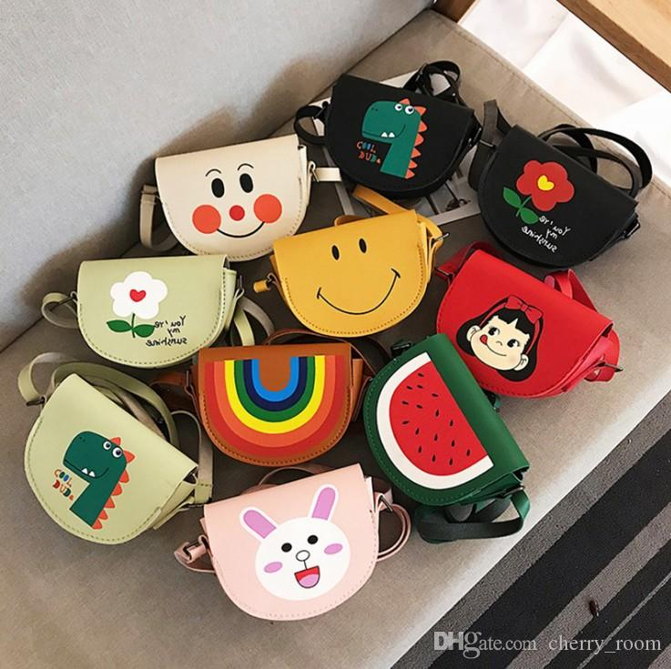 Children Cartoon Bags Fashion Bunny Flower Rainbow watermelon dinosaur Printed Kids Messenger Bag Girls Casual Change Purse Y2505