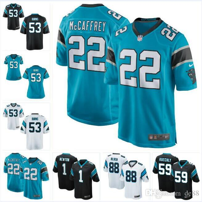 new concept 55db3 9424f 53 Brian Burns Cam Newton Panthers Jersey Christian McCaffrey Luke Kuechly  Greg Olsen Will Grier custom american football jerseys white 4xl