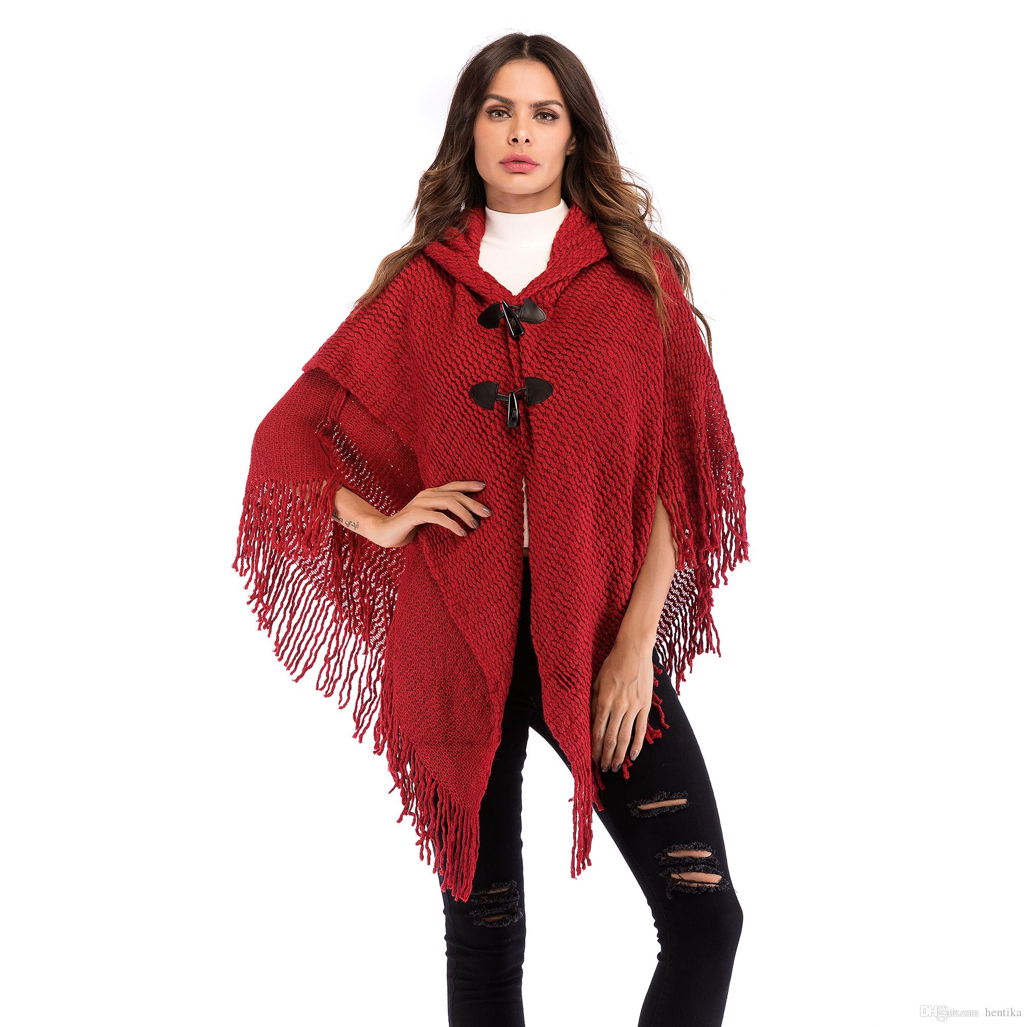 8a135a25294cc4 2019 Hooded Cape Tassels Batwing Sleeve Double Breasted Fashion Sweater  Free Size Vintage Style Women Coats From Hentika, $25.18 | DHgate.Com