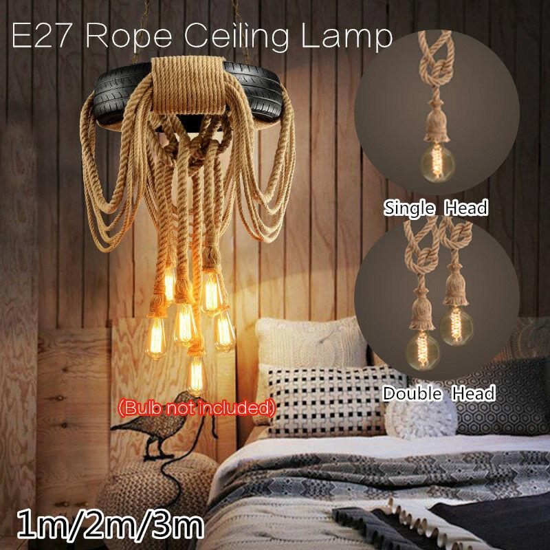 Cuerda de cáñamo luces pendientes de la vendimia colgante retro Loft Industrial Lámpara de estar Cocina Inicio Cuerpo de iluminación decoración de la luminaria