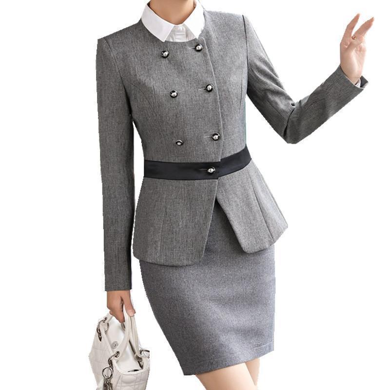 f508cda103454 Compre Fmasuth Dama De Invierno Traje De Falda De Negocios Botones Chaqueta  Chaqueta + OL Falda 2 Piezas Mujer Oficina Uniforme Traje Mujer Ow0500 A   69.78 ...