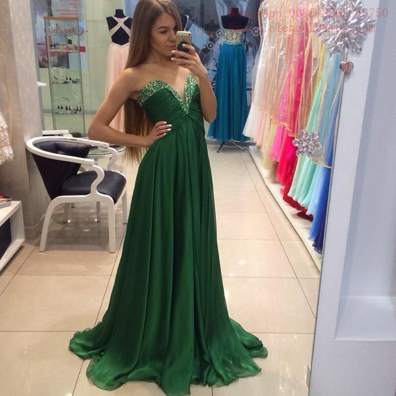 premium selection a318f d8ee9 Abito da ballo in chiffon verde smeraldo senza maniche con scollo a cuore  con perline Abito da spettacolo lungo plus size abito da cerimonia formale