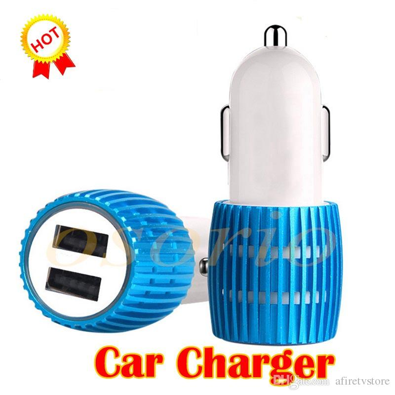 Dual USB Port Car Charger Universal 12 Volt / 1 ~ 2 Amp for Apple iPhone iPad iPod / Samsung Galaxy / Motorola Nokia Htc With LED