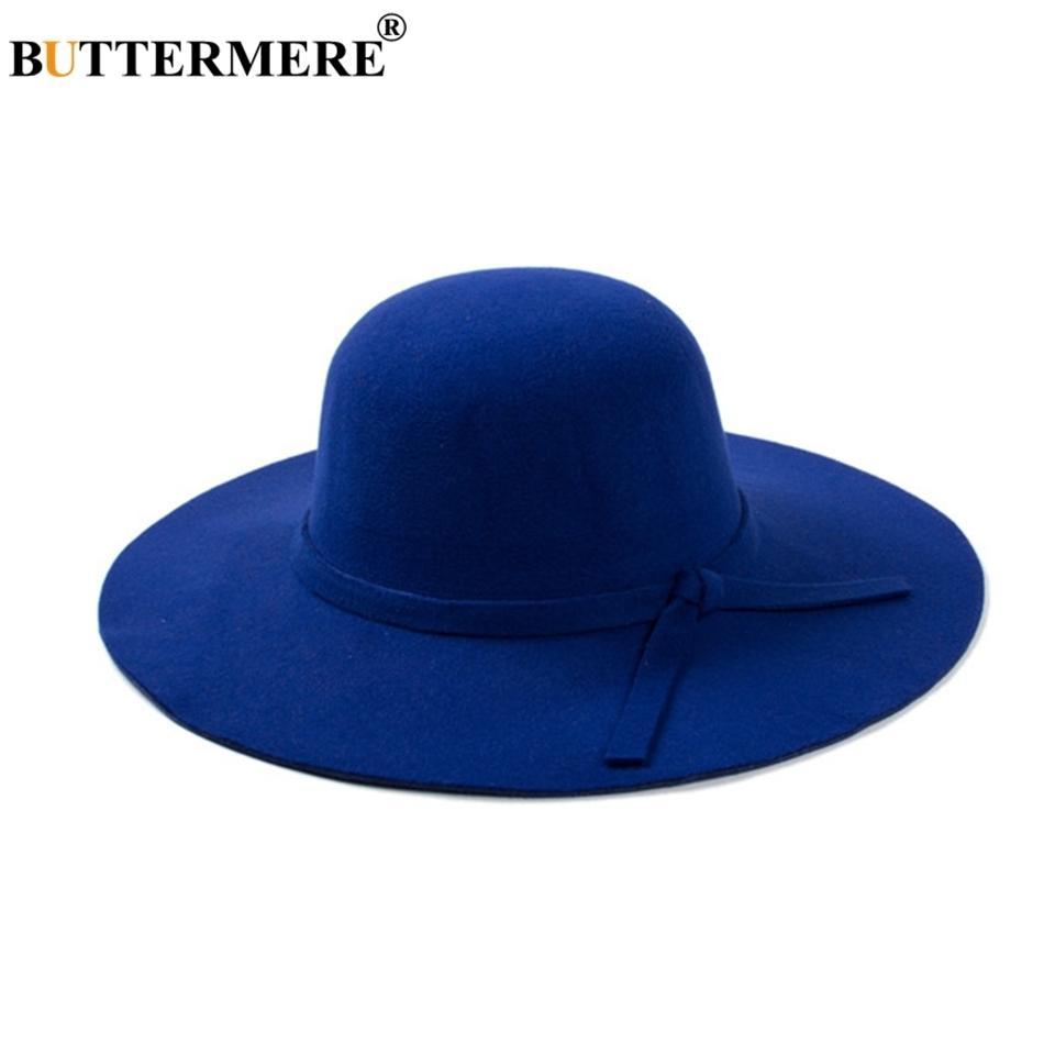 67537deb1847f Compre BUTTERMERE Senhoras Woolen Fedoras Chapéu Azul Royal Inverno  Elegante Chapéus Do Vintage Com Uma Borda Larga Britânico Laço Sentiu  Chapéus Das ...