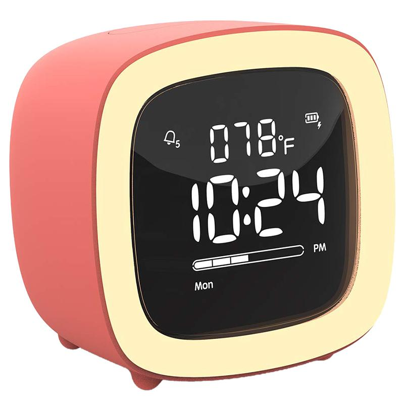 NEW Cute-TV Night Light Alarm Clock for Kids, Girls, Teens, Bedroom, Bedside, Desk, Digital Alarm Clock with Rechargeable Batter