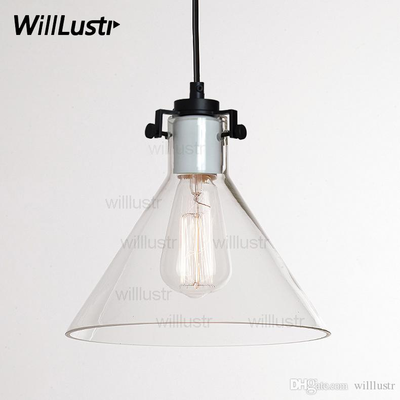 Clear Transparent Glass Funnel Pendant Lamp Edison Vintage Filament Bulb  Hotel Restaurant Industrial Retro American Country Suspension Light Lighting  ...