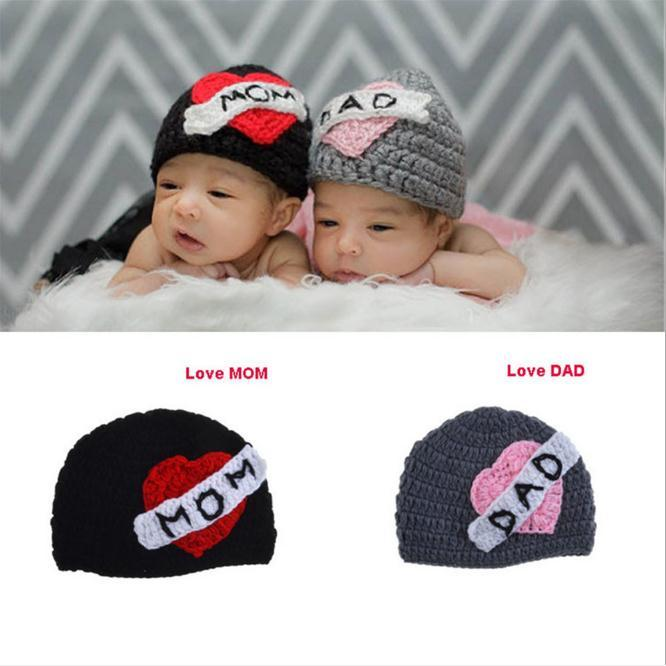 285d28b9d4a Newborn Photography Props Knitting Crochet Love Mom And Love Dad ...