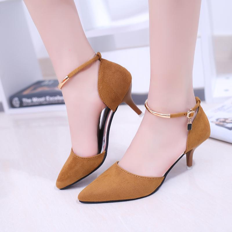d3f8d5666eb Dress Shoes Size 34 39 Flock Pointe Toe Women Pumps 7.5CM High Thin Heels  Ladies Summer Office Party Wedding Sexy Comfortable Pumps Brown Dress Shoes  ...