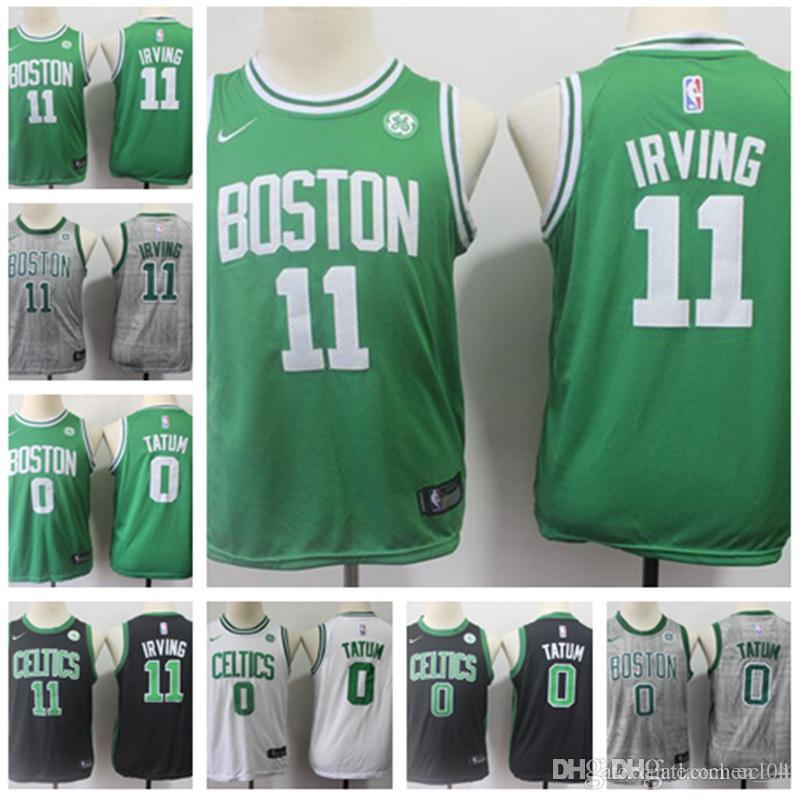 brand new 74588 cbf3b 2019 new KIDS 11 Kyrie Jersey Irving jersey youth Jayson 0 Tatum Swingman  Gray white green Jerseys