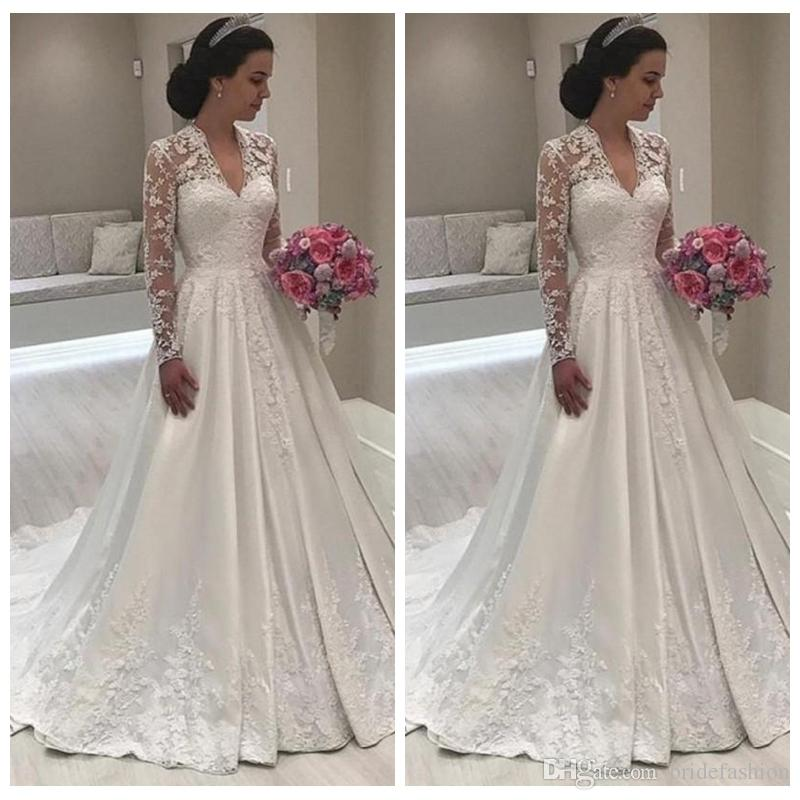 162d9381d8 Discount Elegant A Line Wedding Dresses V Neck Poet Long Sleeve Illusion  Bodice Lace UP Court Train Wedding Gowns Robe De Mariee Bridal Gowns Wedding  ...