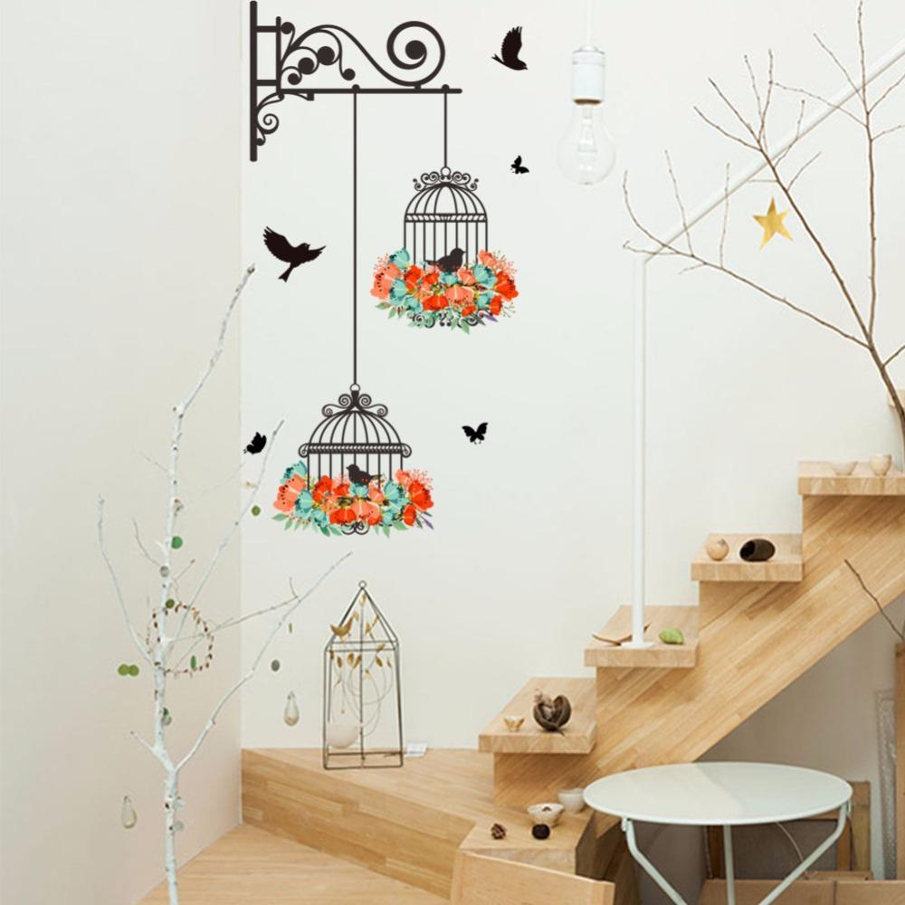 New Birdcage Colorful Flower Flying birds for Living room wallpaper lnursery window decor Wall Sticker for Kids Room Home Decor