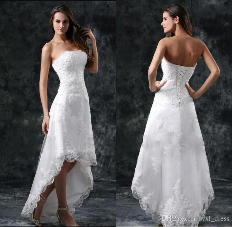 53a24d13dcc9b Discount 2019 Vintage Plus Size Beach Wedding Dresses Bridal Gowns Robes De  Demoiselle D Honneur Strapless Appliques Lace Country Wedding Dress Beach  ...