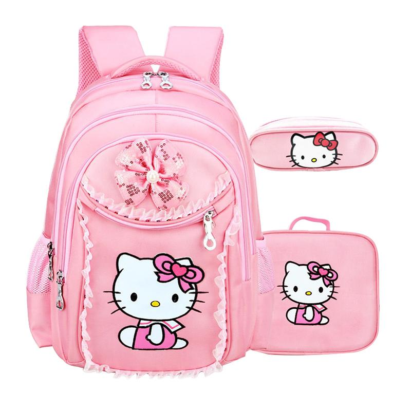 Waterproof Students Cartoon School Bag Girls Cute Polyester Satchel Children Nylon Zipper Backpack Large Capacity Case Y190601