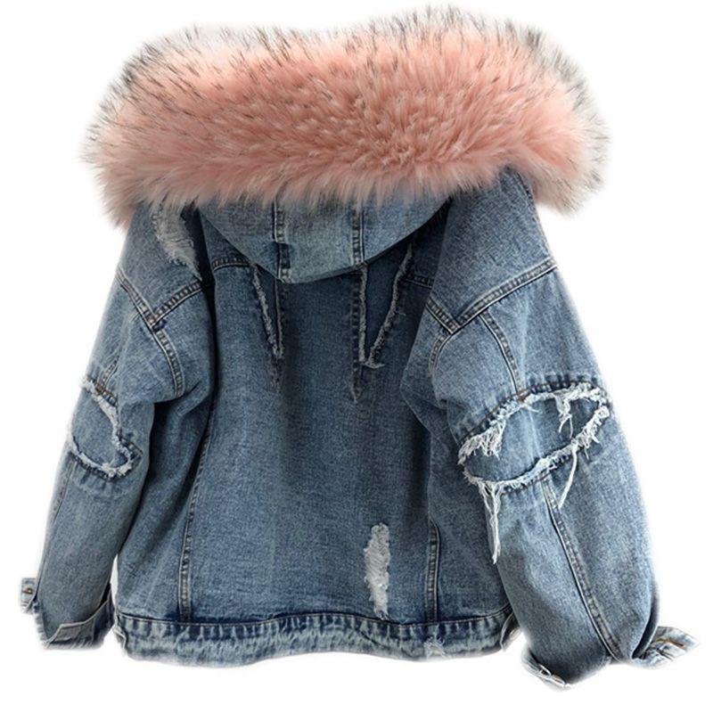 dc4efb18 2018 Winter Jacket Women Big Fur Hooded Denim Parka Lamb Fur Warm Thick  Winter Outerwear Loose Women s Wool Liner Jeans Jacket