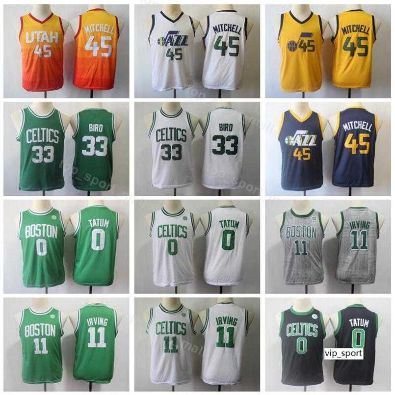 cheap for discount 2017c b8513 Youth Donovan Mitchell Jerseys Kids Basketball Boy Kyrie Irving Larry Bird  Jayson Tatum Edition City Children White Shirts Uniform
