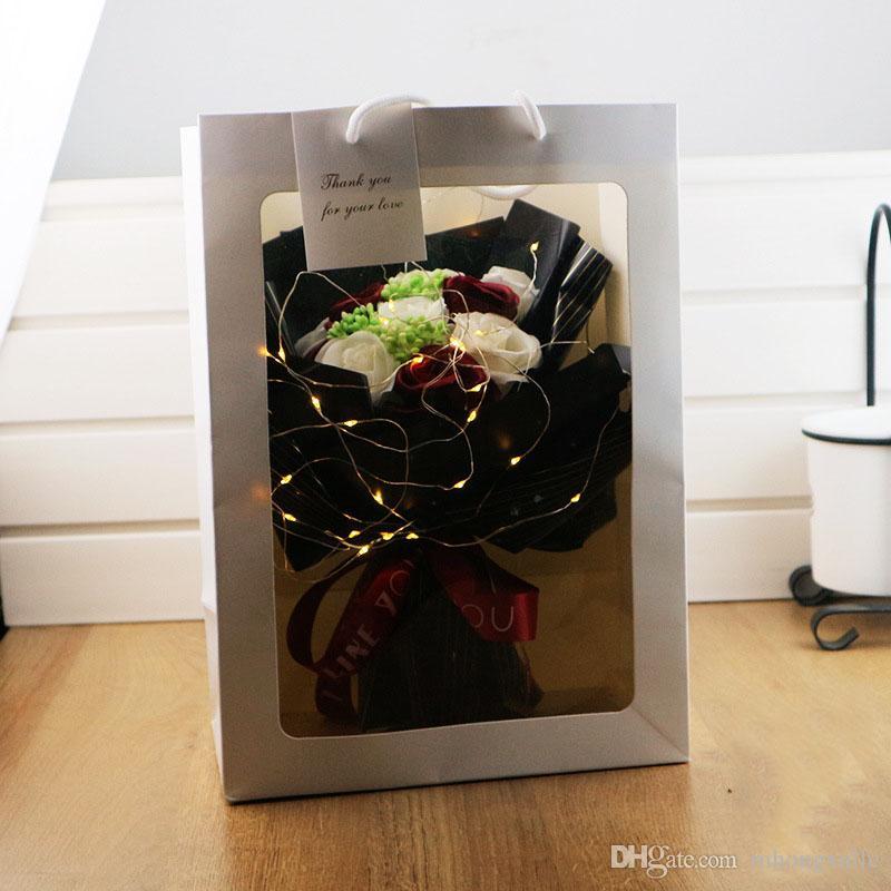 الإبداعية هدية العيد باقة الصابون باقة من الزهور مع الصمام لصديقة عيد الميلاد هدية عيد الحب محاكاة روز الزهور
