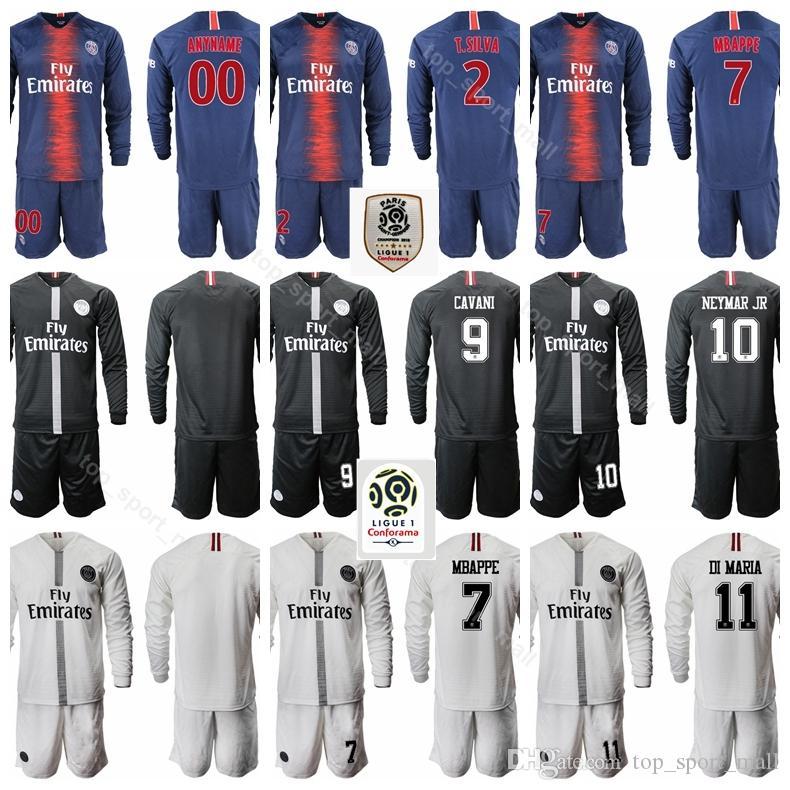 Compre Paris Saint Germain 2018 2019 PSG Camiseta De Manga Larga Fútbol  Ligue 1 MBAPPE DI MARIA VERRATTI DRAXLER Kits De Camiseta De Fútbol Azul  Uniformes A ... b90fa82304bbf