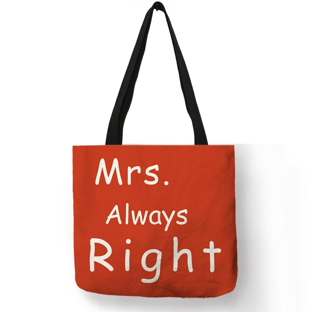 Haze Blue Orange Color Lady Girls Casual Hand Bags Mr Mrs Right Letter Printed Shoulder Bags Lightweight Portable Practical Tote