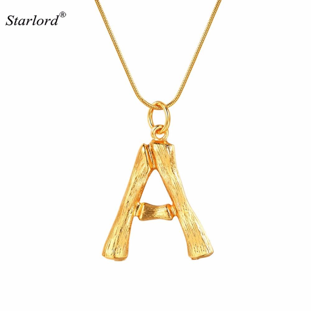 38bd92fc801e Wholesale Bamboo Initial Letter A Necklace Gold 26 Alphabet Jewelry  Personalized Gift Statement Big Letter Charm For Women Men P9074 Gold  Chains For Men ...