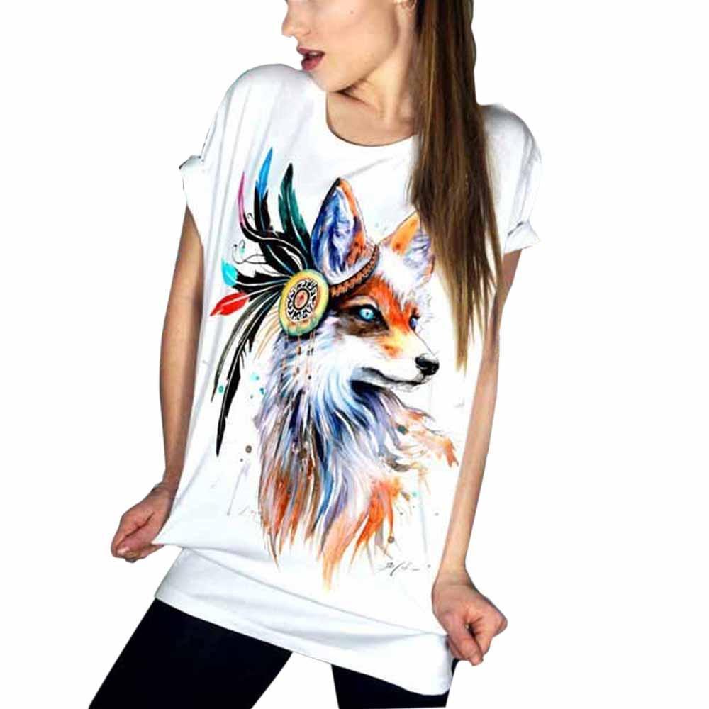 75130172b Harajuku 2019 Summer T Shirt Women Tops Short Sleeve Graphic Fox Print  Casual Tshirt Punk Rock Tee Shirt Femme White Of T Shirts Online Buy T  Shirts From ...