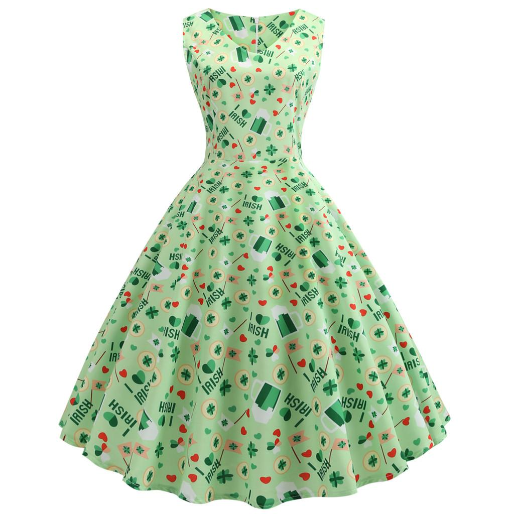 16b6a843fe4 St. Patrick S Day Women S Clover Sleeveless Print Party Swing Dress Green  Sexy Breathable Mid Calf Length Dress New Arrival 2019 Strapless Dresses  For Teens ...