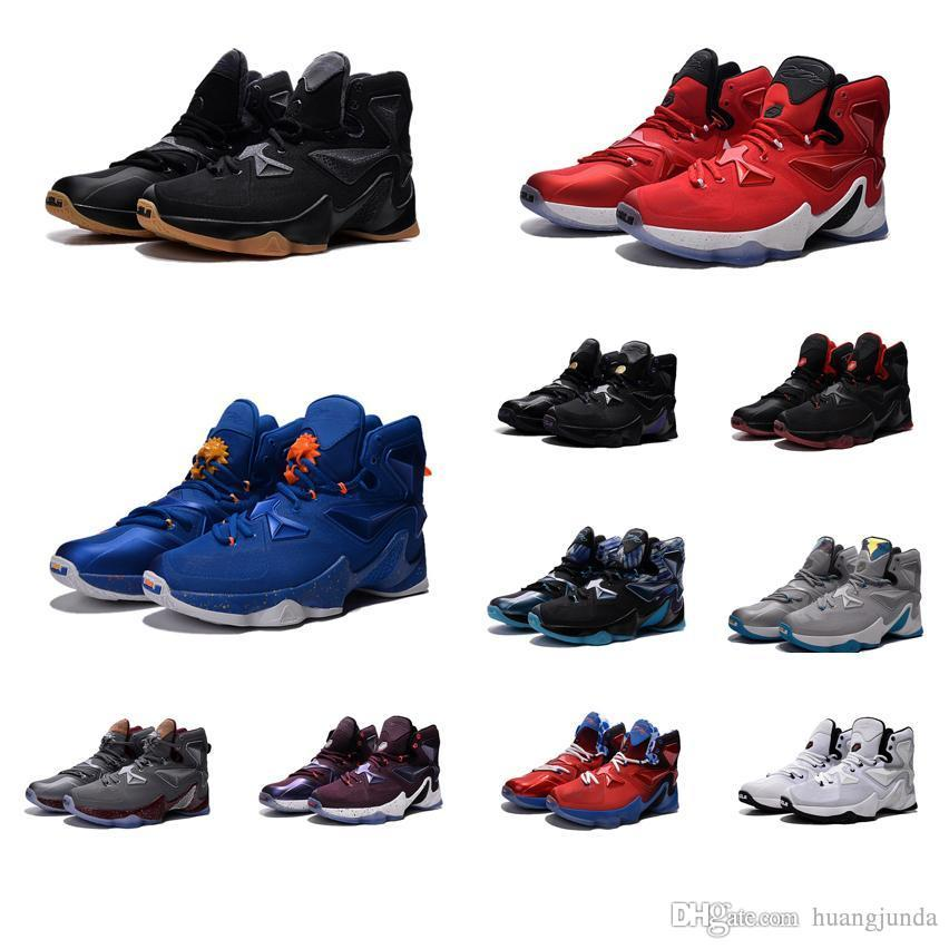 pretty nice f0653 f1b30 Cheap New Men Lebron 13 XIII basketball shoes Blue Black Gold Gym Red  Galaxy Brown Grey White James 23 air flights sneakers boots for sale