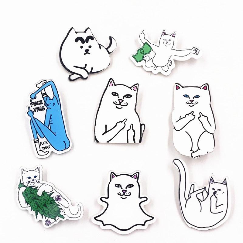 8PCS Wholesale Mix Funny Cat Cartoon Acrylic Badges Good Quality Animal Brooches Fashion Pins For Kids DIY Accessories