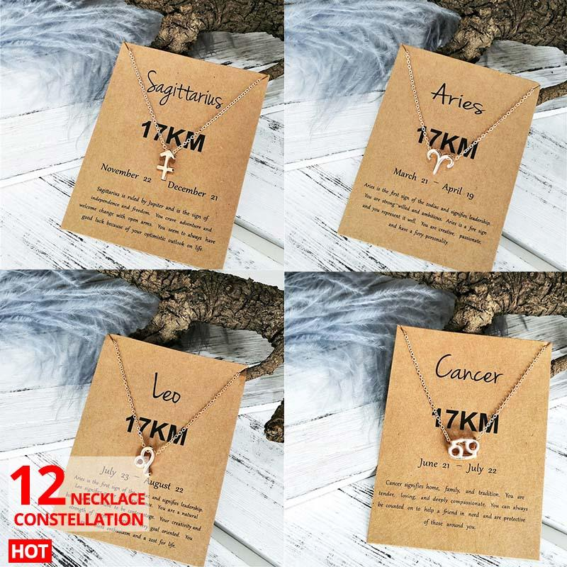 17KM 12 Constellation Pendant Necklaces 2019 For Women Bohemian Gold Zodiac Aries Pisces Choker Necklace With Card Fashion