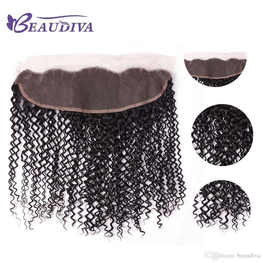 13*4 Lace Frontal Free Part Kinky Curly Peruvian Virgin Hair Natural Color Peruvian Curly Weave Human Hair Closure With Baby Hair