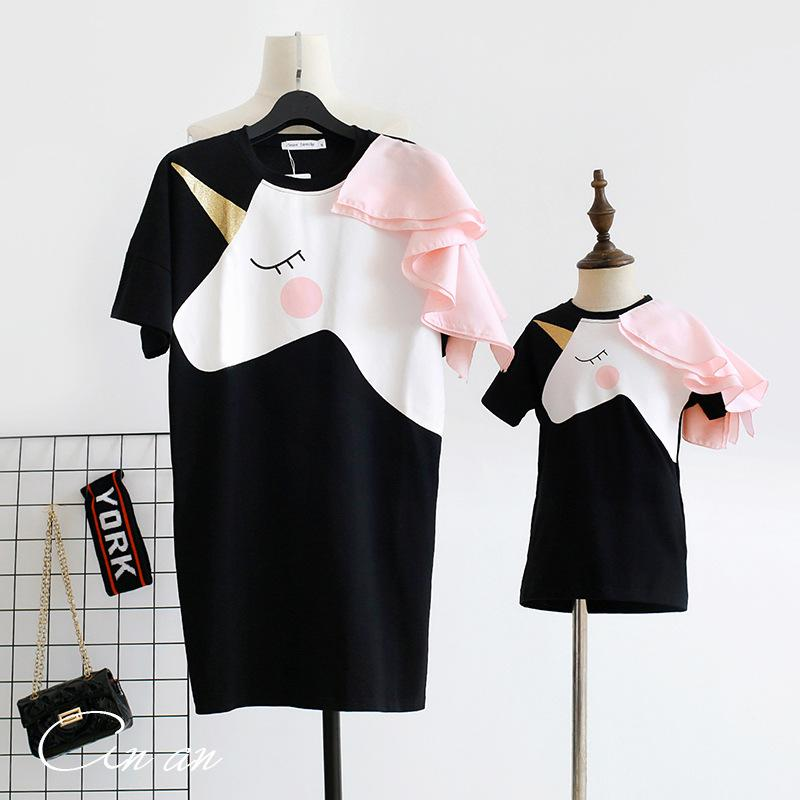 Family matching mother daughter unicorn licorne mommy and me clothes family look girls korean clothing women summer beach dress