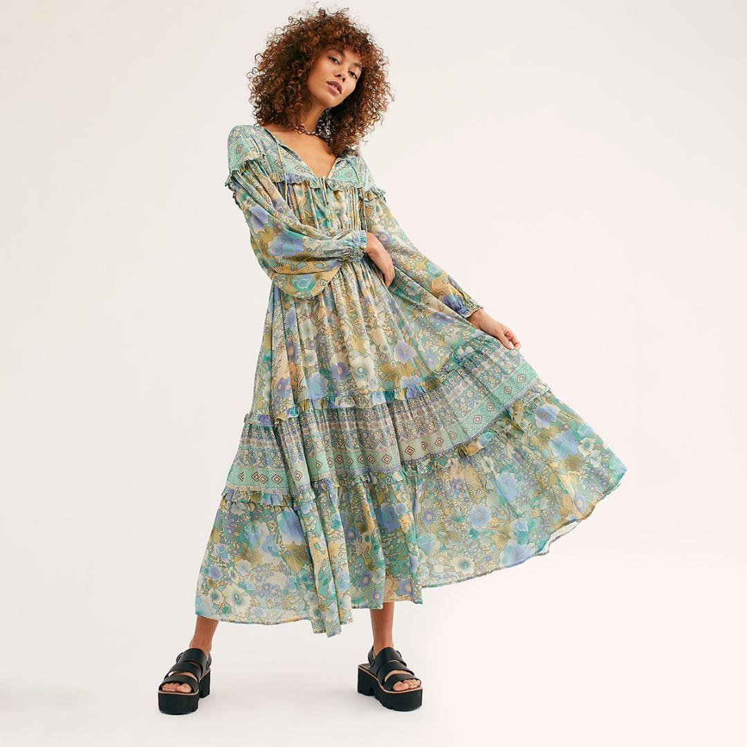 28780f8013227 Floral Ruffle Chic Midi Dress Women Vintage Long Sleeve V neck Summer  Dresses Boho Printed Beach Hippie Party Dress 2019 Clothes