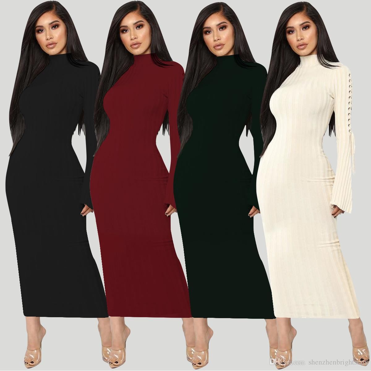 8c41a0ea4a0 Amazon Hot Sale Autumn Dress High Elastic Crater Strap Micro Horn Long  Sleeved Dress Dresses For Juniors White Cocktail Dresses From  Shenzhenbrightstars