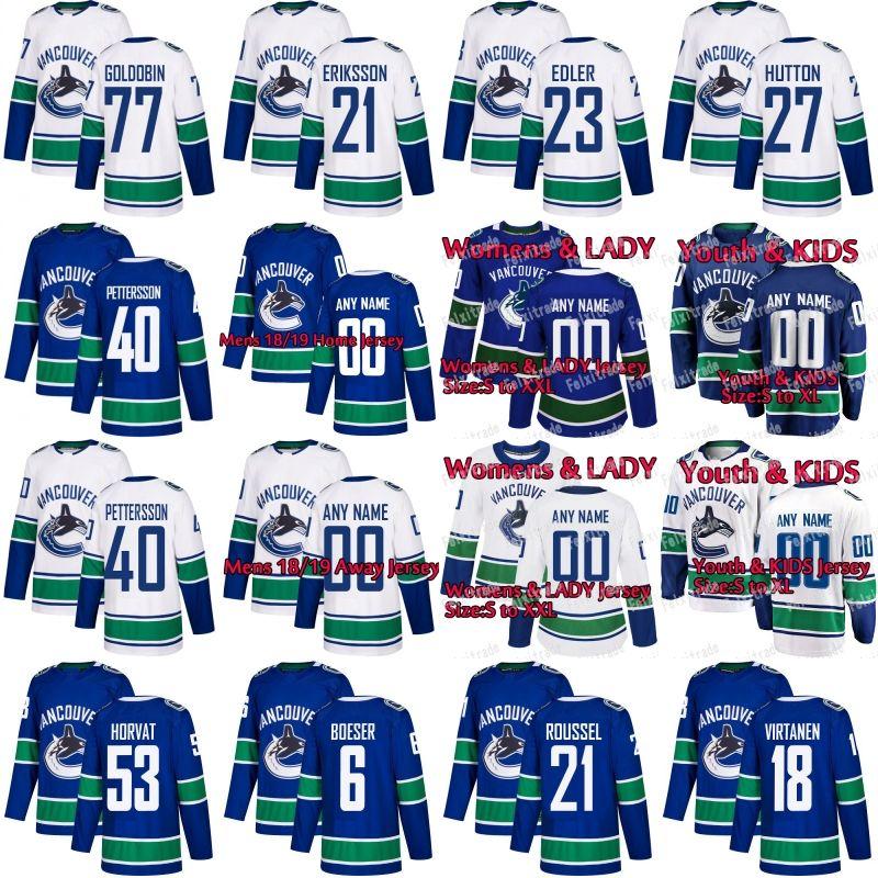 9e2762ea3a7 2019 Vancouver Canucks Jersey Elias Pettersson Bo Horvat Brock Boeser  Antoine Roussel Nikolay Goldobin Jake Virtanen Loui Eriksson From  Felixtrade