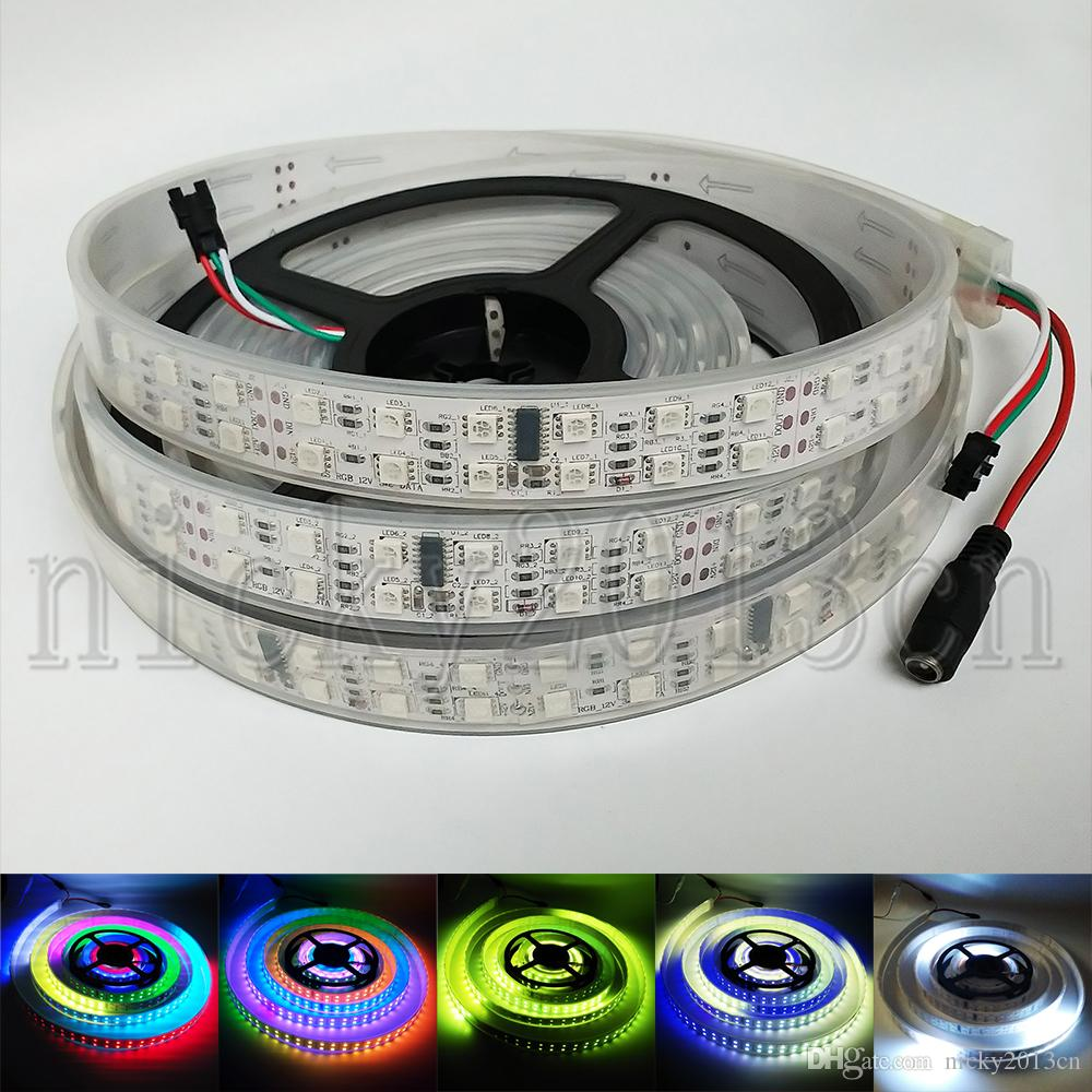 12V WS2811 5050 RGB LED Pixel Flexible Strip Light 5M 600LEDs Addressable  Magic Color Chasing Double Row IP67 Tube Waterproof 120LEDs/m