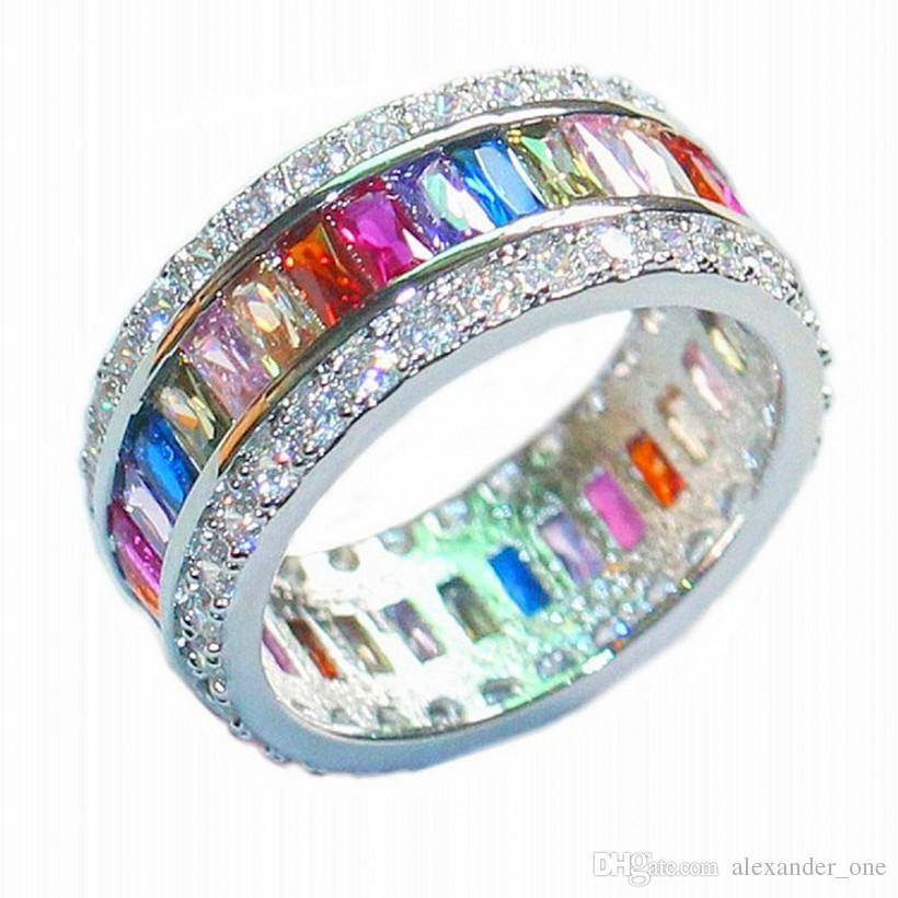 Luxury 925 Sterling Silver Colorful Square Pave setting full CZ Simulated Diamond Gemstone Rings Wedding Bride Bands Jewelry For Women