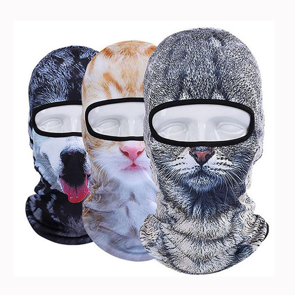 3D Cat Dog Animal Skullies Beanie Helmet Liner Winter Hat Balaclava Bicycle Bike Snowboard Party Warmer Full Face Mask Women Men