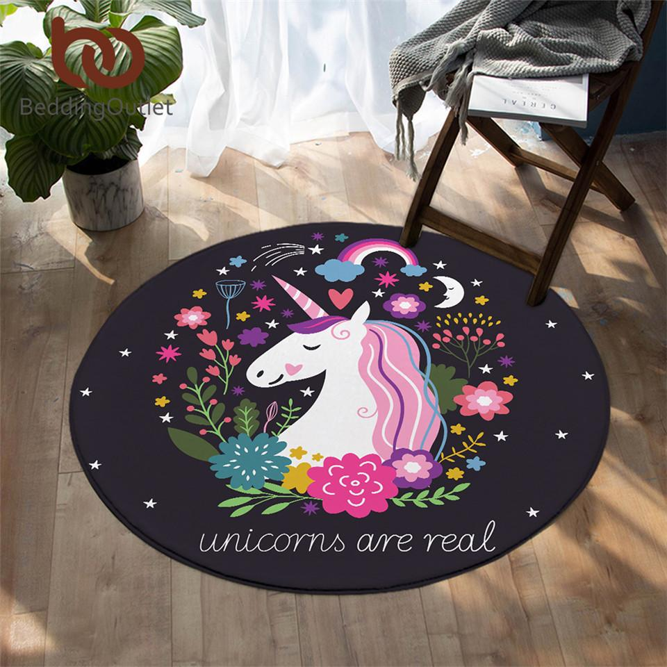 ConditionOutlet Rainbow Unicorn Bedroom Carpets Cartoon Round Area Carpet for Living Room Floral Girly Floor Carpet Games Matter 150cm
