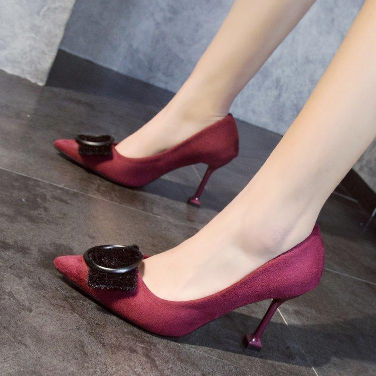 8dc5bfac0cd Shoes Fashion Women Square Heel Suede Metal Ring Buckle High Heel Pointed  Toe Ladies Office Casual Wedding Party Dress Happy Hour Pump