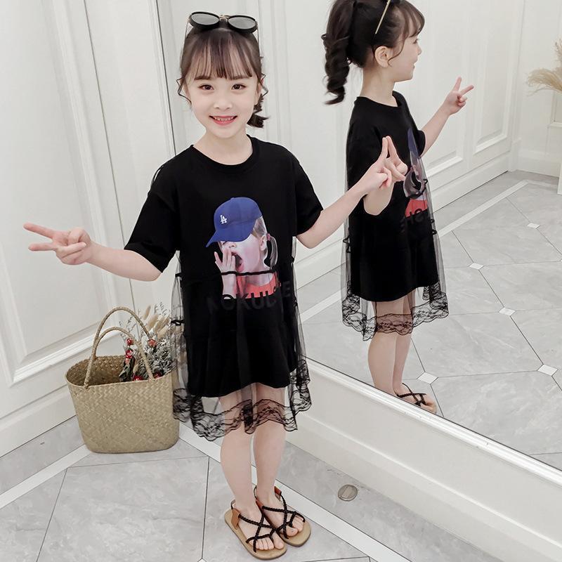 62ca01ab5fc 2019 Girls Dress Summer Dress 2019 New Girl Korean Version Of The Foreign  Air Mesh T Shirt Skirt Children Short Sleeved Skirt Tide From Mahaitao, ...