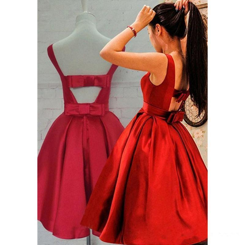 Modest Cocktail Dresses Lovely Red Homecoming Dresses Short Party Gowns Bateau Neckline Sleeveless Satin Prom Dresses with Bow B53