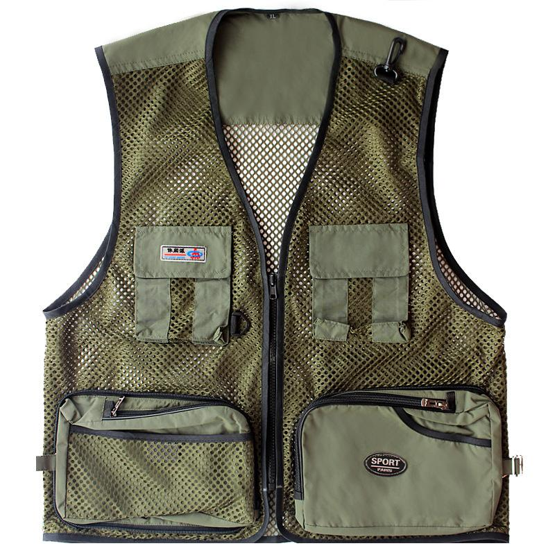 Mesh Outdoor Breathable Volunteer Quick Dry Photography Fishing Vest Camping Climbing Multi-Pocket Waistcoat Sleeveless Jacket