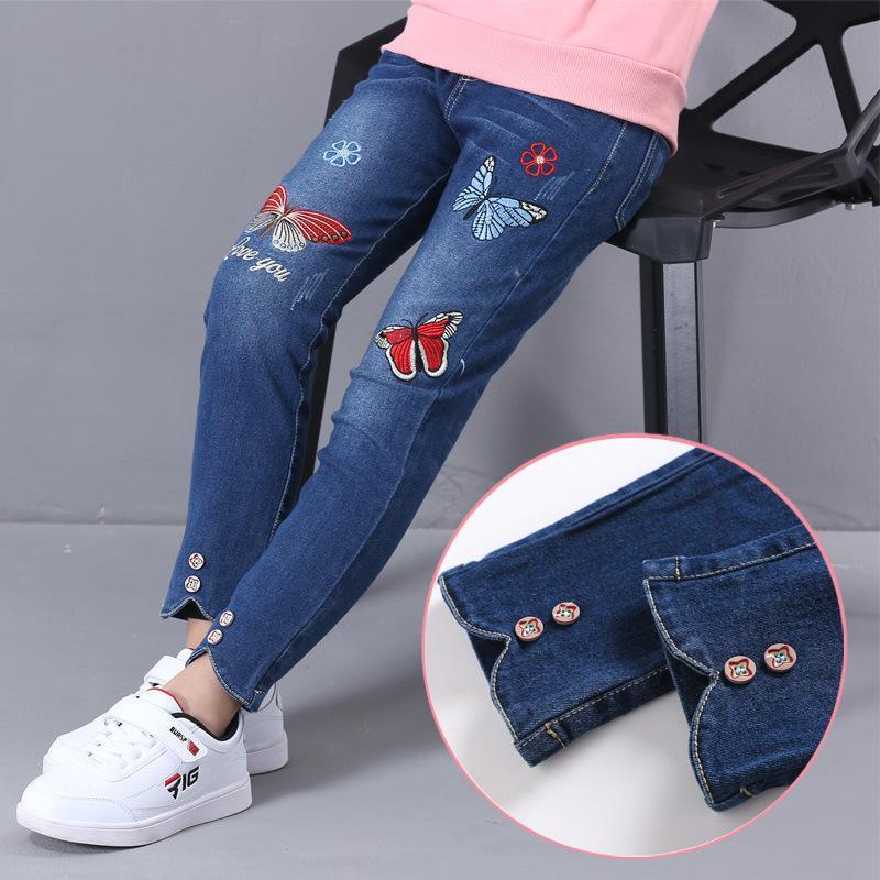 nuovo stile a40b8 1bfd3 Teenage Girls Denim Jeans Autunno Inverno 2019 Bambini Cotton Cowboy  Leggings 4-12 anni Vestiti per bambini Jeans elasticizzati ricamati