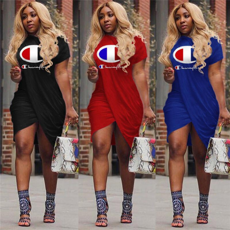 Women Champions Print Irregular Slit Dress Summer Fashion Short Sleeve Knee-Length Skirt Sport Casual T Shirt Sweatshirts Clothing A413003